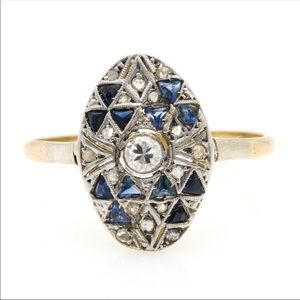 Jewelry - Beautiful auth antique sapphire & diamond 18k ring